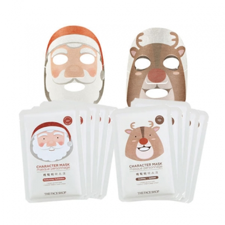 韓國The Face Shop 聖誕老人/紅鼻子麋鹿 聖誕限定版面膜【櫻桃飾品】【22766】