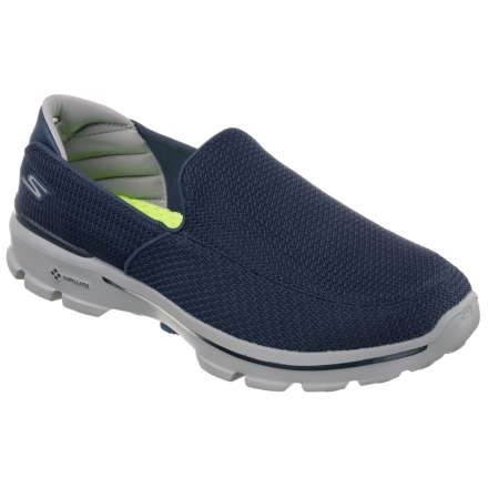 (SKECHERS男) GOwalk 3系列 健走鞋 - 53980NVGY 藍灰