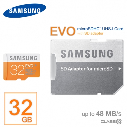 SAMSUNG三星 EVO/黃卡/Micro SD/MicroSDHC/UHS-1/T-Flash32G/TF 32GB/32G Class10/48MB 記憶卡/附SD轉卡