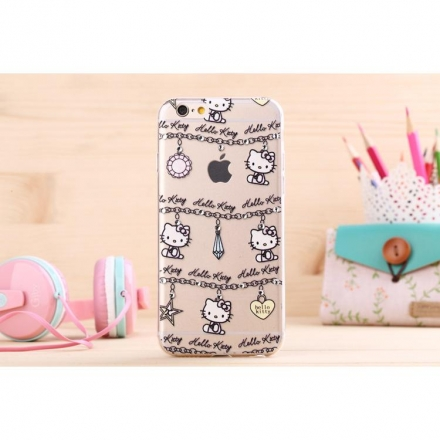 iPhone5/iPhone6 4.7/5.5 Hello kitty 樣式3 矽膠TPU透明套