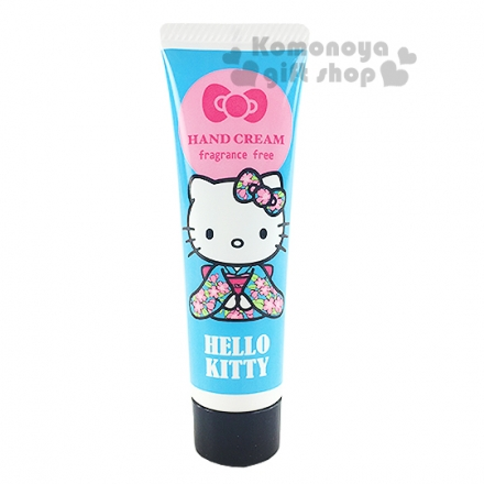 〔小禮堂〕Hello Kitty 日製香味護手霜《藍.和服.無香料.20ml》 4991567-98642